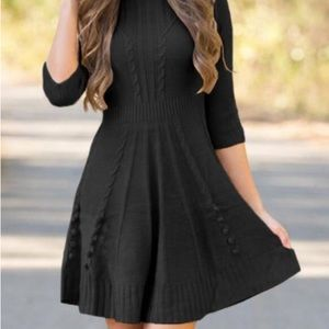 LE DAI Anthropologie Textured Fit Flare Bodycon Lg